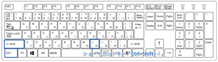 ショートカットキー『Ctrl+Shift+<』