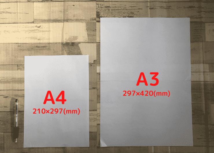 A4とA3の比較