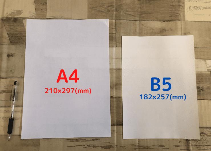 A4とB5を比較