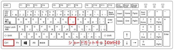 ショートカットキー【Ctrl+I】