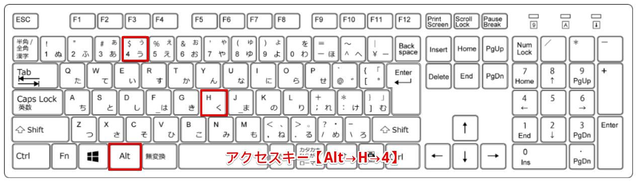アクセスキー【Alt→H→4】