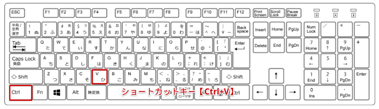 ショートカットキー【Ctrl+V】